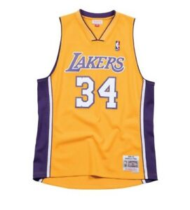 Shaquille Oneal Los Angeles Lakers Mitchell Ness NBA Mesh Swingman Jersey Yellow
