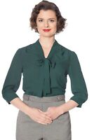 Green Vintage 50's Rockabilly Retro Perfect Pussybow Blouse Top Banned Apparel