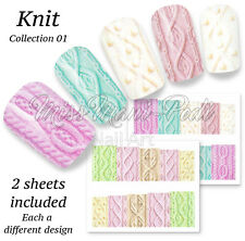 Pastel Knits Nail Art Water Decals Stickers, Wraps Wool Knitting BN520 Multipack