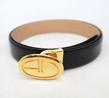 DUNHILL Belt gloss skin leather black gold buckle 34 39 in leather men