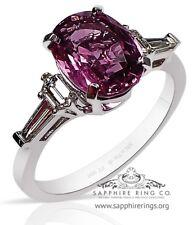 GIA Platinum 2.94 tcw Pink Oval Cut Natural Ceylon Sapphire & Diamond Ring
