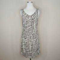 Great Plains London Linen Cotton Sleeveless Dress Sheath Brown White S Small