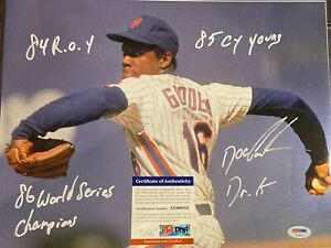 DOC DWIGHT GOODEN 11x14SIGNED INSCRIBED W/MULTIPLE ROOKIE STATS PSA DNA COA AUTO