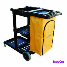 SunnyCare® #611B Black Plastic Janitorial Cleaning Cart With 25 Gallon Bag