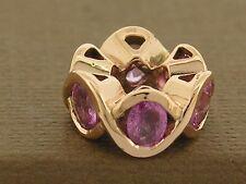 Bd070- GENUINE 9ct Rose Gold NATURAL Pink Tourmaline Bead Wave Charm