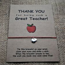 Wish Bracelet / Thank You Teacher Gift / End of Term Teachers Gift Card