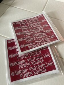 Warning Photovoltaic Power Source Stickers. Two 50 Packs 100 Total
