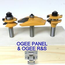 3pc  Ogee Raised Panel & Ogee Rail and Stile Router Bit Set S