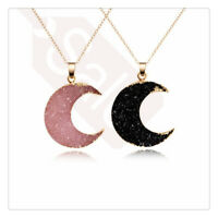 Women Moon Drop Necklace Reiki Pendant Gmestone Gold Druzy Chain Jewelly Gift