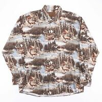 Vintage NORTH RIVER Woodland Outdoor Stag Nature Print Shirt Size Men's XL