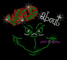 Wild about Grinch - REDgreen Rhinestone Iron on Transfer Hot Fix Bling Christmas