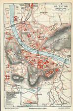 SALZBURG Festung Schloß Mirabell Stadtplan von 1897 Mülln Riedenburg Kurgarten