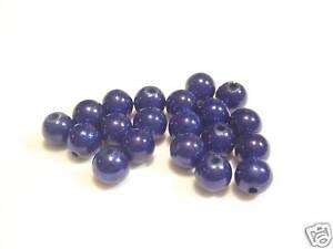 40 x 4mm Polyester Cat's Eye Beads : PCE33 Dk Blue