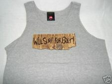 "MEN RUSTY GRY TANK TOP""BEER"" LARGE T-SHIRT SURF TSHIRT"