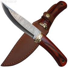 Haller Jagdmesser Outdoormesser Klinge mit Waldmotiv Ätzung Gürtel Lederscheide