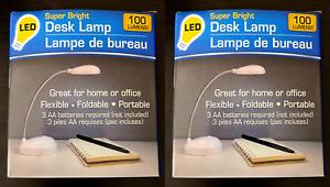 2-PK Super Bright LED Portable Desk Lamp Battery Powered Foldable 100 LUMENS
