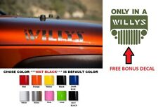 Willys Hood Decal Stickers graphics for Wrangler TJ JK JL JT ( #740 )