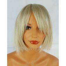 LADIES WOMENS LIGHT SILVER GREY BLUNT CHOPPY STYLE SHORT BOB FULL WIG