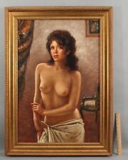 Original 1960s NELLO IOVINE Italian Pin-Up Portrait Oil Painting Nude Woman