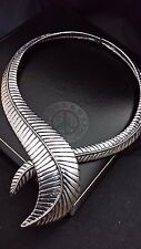 Statement Oversize Chunky Large Silver Tribal Feather Collar Curve Cuff Necklace
