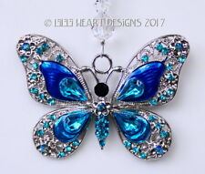 m/w Swarovski Beads Beautiful Blue Butterfly Car Suncatcher Lilli Heart Designs