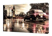 LONDON BLACK TAXI  BIG BEN    PHOTO  PRINT ON WOOD  FRAMED CANVAS WALL ART