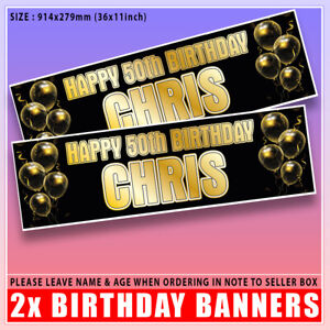 2 Personalised Birthday Banner Gold Party Balloon -18th 21st 30th 40th 50th 60th