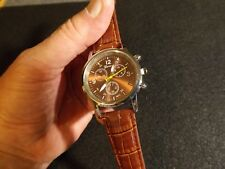 Stylish Men's Geneva chrono-look quartz analog watch w/ alligator  embossed band
