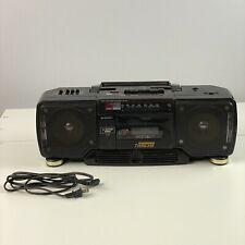 SHARP WQ-T238(BK) Portable Vintage Double Cassette TwinCam Boombox Black Tested