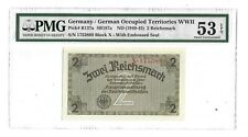 53 PMG 2 Reichsmark 1944 Germany Occupied Territories WWII Banknote Greece 137a