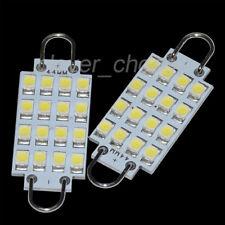 """2 x White Festoon 44mm 16-3528 Rigid Loop 1.73"""" LED Light Bulbs 561 562 576 578"""
