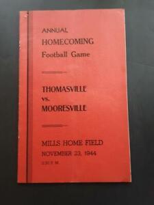 Vintage 1944 Thomasville vs Mooresville NC High School Football Game Program