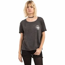 2017 NWOT WOMENS VOLCOM RADICAL DAYS T-SHIRT $32 S black rolled sleeve