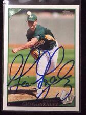 GIO GONZALEZ 2009 TOPPS Autographed Signed AUTO Baseball Card 522 ATHLETICS