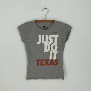 "Nike Girls UT Longhorns ""Just Do It Texas"" Gray Short Sleeve Graphic T-Shirt L"