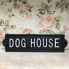 "Antique Black Cast Iron Wall Mounted Garden Gate Door Sign Plaque ""dog House"""