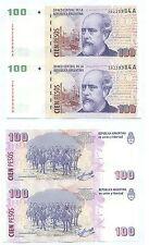 ARGENTINA 2 NOTES UNCUT 100 PESOS SERIAL A (2000) P 351 UNC