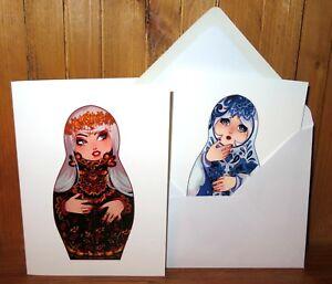 DOLL BIRTHDAY GREETING CARD  Russian Nesting Matryoshka Khokhloma Gzhel style