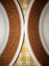 "2 vintage PYREX TableWare restaurant dinner plates 9"" milk glass gold filigree"