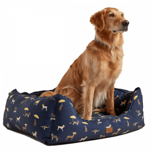Joules Dog Print Box Dog Bed - Navy Blue