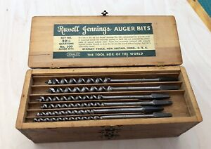 VINTAGE STANLEY RUSSELL JENNINGS PATTERN AUGER BITS: No. 100, FULL SET WITH BOX