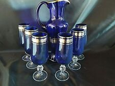 Czech bohemia glass - Water, wine,bier  set 6+1 blue color