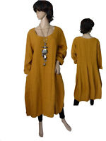 Gr.44 - 50 Kleid Leinenkleid Langarmkleid Ballonkleid Curry  Italien LAGENLOOK