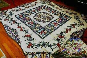 "NEW Handmade Tiffany Dragonfly Garden Patterns Quilt   92"" x 87"""
