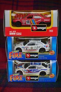 3x Bburago 1/43 BMW M3 GT Cup, M3 DTM & 535i (MIMB)