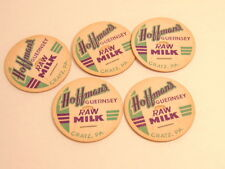 5 vintage Hoffmans Guernsey Raw Milk bottle caps:  Gratz, PA