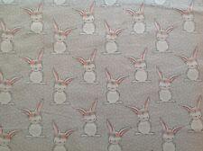 ~ FLANNEL~ Bunny~Rabbit~Quilting~Bunnies Fabric~Girls~ Grey ~ Flannelette~FQ~