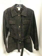 Travel Smith Women's Suede Leather Jacket Coat Sz Large Tie Belt Brown Button Up