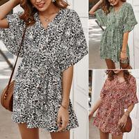 Women's V-Neck Holiday Mini Dresses Ladies Short Sleeve Summer Beach Sundress