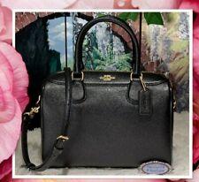 NWT Coach F32202 - MINI BENNETT Satchel X-Body Bag In BLACK Crossgrain Leather